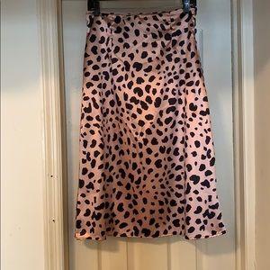 Dresses & Skirts - Satin Leopard Midi Skirt
